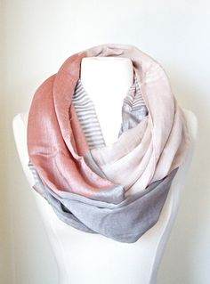 Orange Color Block silky infinity SCARF  Chunky lightweight mint scarf  Women's Fashion Accessory  more COLORS