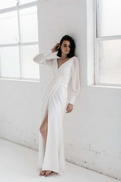23 Elegant Long-Sleeve Gowns for the Winter Bride Karen Willis Holmes Gownvintage ball gown long sleeves wedding dress lace edge Long sleeve wedding Statement Sleeve Wedding Dresses Wedding Dress Sleeves, Long Sleeve Wedding, Long Wedding Dresses, Bridal Dresses, Wedding Gowns, Dresses With Sleeves, Wrap Wedding Dress, Wedding Dress Casual, Modest Wedding