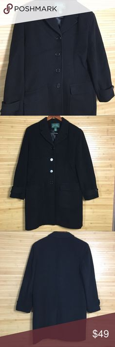 Women's Ralph Lauren Wool Cashmere Long Black Coat Women's Ralph Lauren Size 10 Classic Wool and Cashmere Long Black Coat Great Condition does have a small blemish on the back of right sleeve see pictures Lauren Ralph Lauren Jackets & Coats