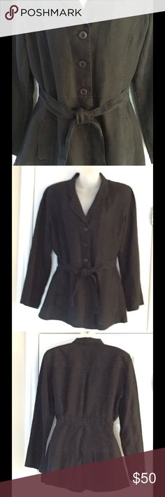 """Armani Exchange black linen belted jacket Very gently used. This beautiful fitted linen jacket is size 14 but fits more like an 8-10. From shoulder to bottom measures 29"""" long. Sleeves are 23 1/2"""" long and waist measures 16"""". It has 2 pockets and a belt that is sewn into the back. A/X Armani Exchange Jackets & Coats Blazers"""