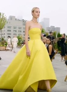 Yellow Fit and Flair Dress - Latest fashion trends for 2019 Different Types Of Dresses, Strapless Dress Formal, Formal Dresses, Cheap Jewelry, Latest Fashion Trends, Fashion Show, Womens Fashion, Yellow, Fit