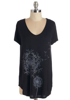 Wish Upon a Stem Top. Life is fine and dandelion thanks to this graphic tee! #black #modcloth