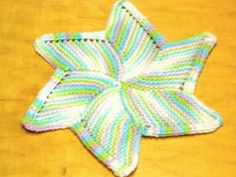 Hand Knit Varigated Pastel Pin Wheel Dish Cloth or Wash Cloth