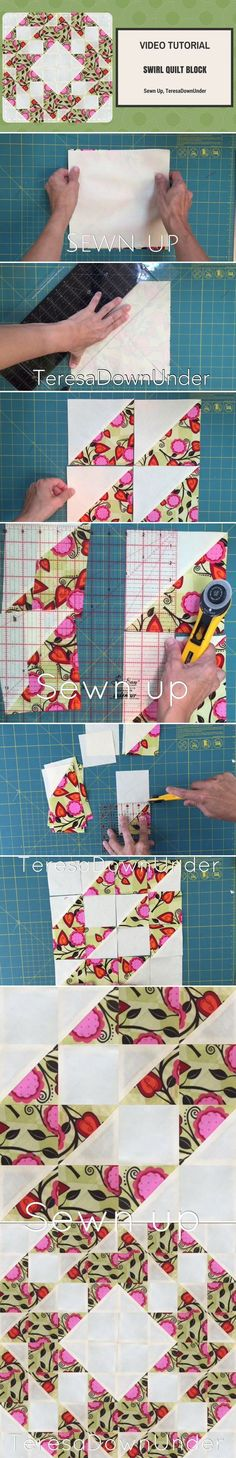 Swirl quilt block video tutorial