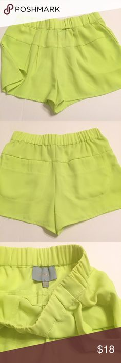 SKIES ARE BLUE High Waist Neon Shorts   sz. S EXCELLENT CONDITION: Worn once. High-waisted, stretch waist shorts. Two back pockets & two hidden side pockets. Purchased from Dillard's. Shorts