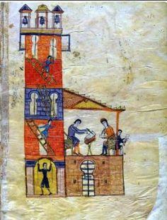 Omega And The Tower Scriptorium Of Tábara, Beatus of Liébana, Las Huelgas Apocalypse, Spain, MS (fol. Apocalypse, Craftsman, Medieval, Tower, Angels, Painting, Art, San Miguel, Bouldering