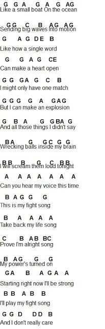 Flute Sheet Music: Fight Song I can use this on the piano. Play this with the right hand and then chords with the left. Piano Sheet Music Letters, Clarinet Sheet Music, Easy Piano Sheet Music, Music Chords, Piano Music Notes, Violin Music, Recorder Music, Music Sheets, Recorder Notes