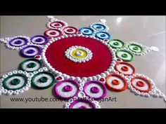 Creative Multicolored Rangoli Designs Using Bangles Rangoli Designs Simple Diwali, Easy Rangoli Designs Videos, Rangoli Designs Latest, Rangoli Designs Flower, Rangoli Border Designs, Small Rangoli Design, Rangoli Patterns, Rangoli Ideas, Rangoli Designs With Dots
