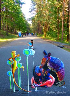 "#3D Riga Festival, Latvia ""Creating the future"" 2016 #mezaparks #adrydelrocio #streetart #anamorphic #anamorfosis #urbanart #painting #asfalt"