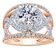 Two-Tone Halo Diamond Engagement Ring - Gabriel