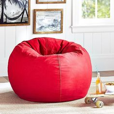 PB Teen Washed Twill Beanbag, Red, Large Slipcover at Pottery Barn... ($89) ❤ liked on Polyvore featuring home, furniture, chairs, accent chairs, red, round bean bag, red chair, red bean bag, plush chair and pbteen