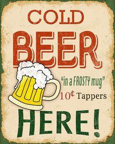 Vintage Cold Beer Sign