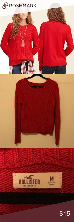 🌹 Hollister Cable Crew Knit Sweater • In perfect condition - no fuzzies, rips, snags or tears • Size M fits true to size • Thick and cozy cable knit sweater from Hollister • Pairs great with a knit white scarf for the holidays Hollister Sweaters Crew & Scoop Necks