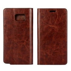 Crazy Horse Genuine Wallet Leather Case For Samsung Galaxy Note 5 - Coffee