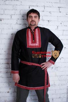 """Купить Русская рубаха """"Черный медведь"""" - черный, орнамент, косоворотка, русская рубаха, славянская рубаха"""