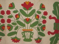 Detail, antique applique quilt, 1850's seen on eBay at gurly46