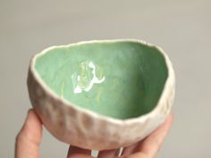 Round organic pinch pot bowl with seafoam green by xRESEEDx