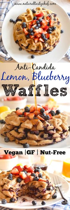 Vegan and Gluten-Free Lemon Blueberry Waffles! Fit an anti-candida diet no sugar yeast or gluten. Vegan and Gluten-Free Lemon Blueberry Waffles! Fit an anti-candida diet no sugar yeast or gluten. Gluten Free Waffles, Gluten Free Recipes For Breakfast, Gluten Free Breakfasts, Brunch Recipes, Vegan Gluten Free, Vegan Pancakes, Anti Candida Diet, Candida Diet Recipes, Candida Cleanse