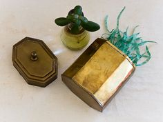 Octagonal Brass Canister Vintage Metal Container by microCosmico