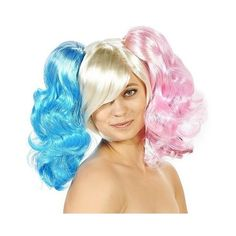 Harlequin Pig Tails Women's Costume Wig, Multi-Colored (110 BRL) ❤ liked on Polyvore featuring costumes, halloween, lady costumes, adult women costumes, ladies halloween costumes, harlequin costume and womens costumes