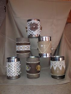 Burlap Lace and Pearl Embellished Tin cans by Partyinthebarn Vintage Style, Vintage Fashion, Colored Chalk, Tin Can Crafts, Burlap Crafts, Burlap Lace, Tin Cans, For Your Party, Shower Party