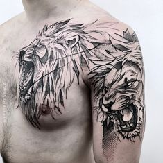 Search inspiration for a Blackwork tattoo. Lion Chest Tattoo, Lion Tattoo Sleeves, Lion Head Tattoos, Mens Lion Tattoo, Cool Chest Tattoos, Bear Tattoos, Chest Piece Tattoos, Best Sleeve Tattoos, Tattoo Sleeve Designs