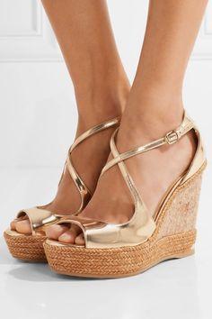 Jimmy Choo - Dakota Metallic Leather Wedge Sandals - Gold - IT37.5