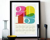 2015 calendar print poster, Black Friday, retro kitchen art, cmyk, Mod Century Modern office, Eames, typography poster, graphic design - A3