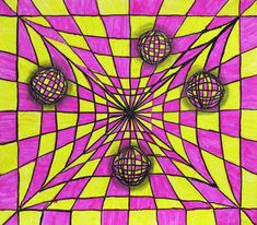 Fourth Grade - Past Galleries - Waunakee Community School District - Chris Kratzke 4th Grade Art, Fourth Grade, Bridget Riley Art, Art Optical, Optical Illusions, Easy Canvas Art, Victor Vasarely, Perspective Art, Art Lessons For Kids