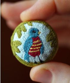 embroidered button - would be cute with a hand knit sweater