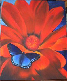 Blauwe vlinder op rode bloem. Gemaakt in olie. Afm. 50 x 60 cm