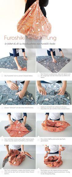 Eine Tasche aus Furoshiki |  Furoshiki bag tutorial