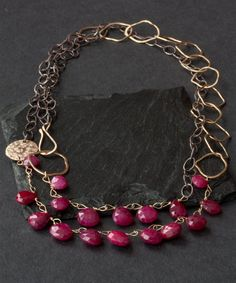 Long Mixed Metal Ruby Necklace by LexLuxe on Etsy, $398.00
