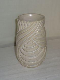 Large carved vase - matte white glaze - Michael MacDonald 2013