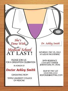 Lab Coat Female / Medical Degree Graduation Party Invitation Cards PRINTABLE DIY on Etsy, $15.00