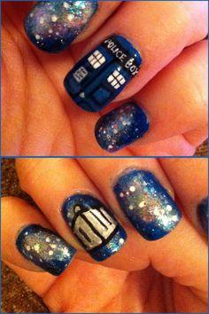I painted doctor who nails :) geek nails ногти Beautiful Nail Designs, Cute Nail Designs, Cute Nails, Pretty Nails, Doctor Who Nails, Nerd, Nail Envy, Creative Nails, Cool Nail Art