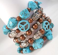 Turquoise Bracelet Peace Sign Jewelry for Teens by foreverandrea,