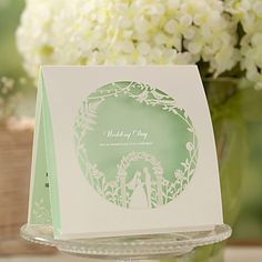 Green Top Fold Wedding Invitation - Set of 50