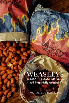 Next to Weasleys' Wizard Wheezes, you'll find the vending machine for 'Dragon Roasted Nuts'. Now make them at home for your Harry Potter party with this easy recipe. We've also provided free printable packaging so you can give them as party favors! - Food in Literature