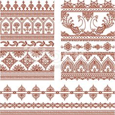 Mehndi Tall Borders (Vector) royalty-free stock vector art