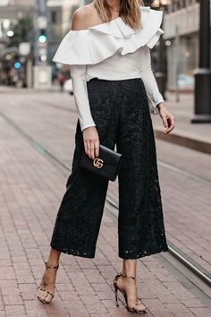White One Shoulder Ruffle Top Black Lace Culottes Gucci Marmont Handbag Leopard Heels Fashion Jackso Classic Outfits, Simple Outfits, Black Women Fashion, Womens Fashion, Petite Fashion, One Shoulder Ruffle Top, Fashion Jackson, Asymmetrical Tops, Street Style Women