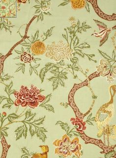 Schumacher's large-scale floral linen, Arbre Chinois in sage