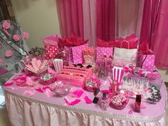 Victoria's Secret bridal shower candy buffet pink Stephanie's secret