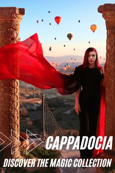 """Cappadocia is like landing on another planet. The place is a semi-arid region in central Turkey known for its distinctive """"fairy chimneys,"""" tall, cone-shaped rock formations and hot air balloons that fill the sky during sunrise almost every day. Here are our favourite essentials inspired by Cappadocia's colours, hot air balloons and breathtaking landscapes.  dress jumpsuit ombre red earrings hair accessories ring Chic Outfits, Summer Outfits, Summer Dresses, Jumpsuit Dress, Black Jumpsuit, Beautiful Flower Tattoos, Red Ombre, Cappadocia, Night Looks"""