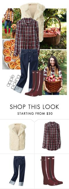 """Apple Picking"" by misty87 ❤ liked on Polyvore featuring Elizabeth and James, Hunter, plaid, skinny, hunter, rubberboots and applepicking"