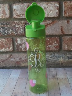 Green Scroll Monogrammed 22 oz. Tumbler with Whimsical Soft Pink & White Dots,  Personalized Water Bottle by SelectedDesignStudio on Etsy https://www.etsy.com/listing/241386285/green-scroll-monogrammed-22-oz-tumbler