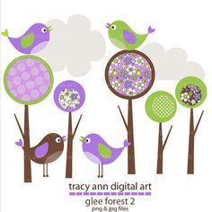 Glee Forest  2 Clip Art by TracyAnnDigitalArt on Etsy, $5.95