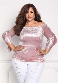Plus Size Clothing | Plus Size Crushed Velvet Waterfall Bell Sleeve Blouse | Debshops