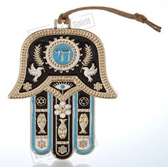 Hamsa hand Wall Hanging decor Lucky Charm Gold tone CHAI Judaica Kabbalah evil eye Gift * Read more  at the image link.