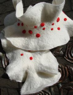 White and red polka dot scarf / hand felted ruffled by oksana, $40.00